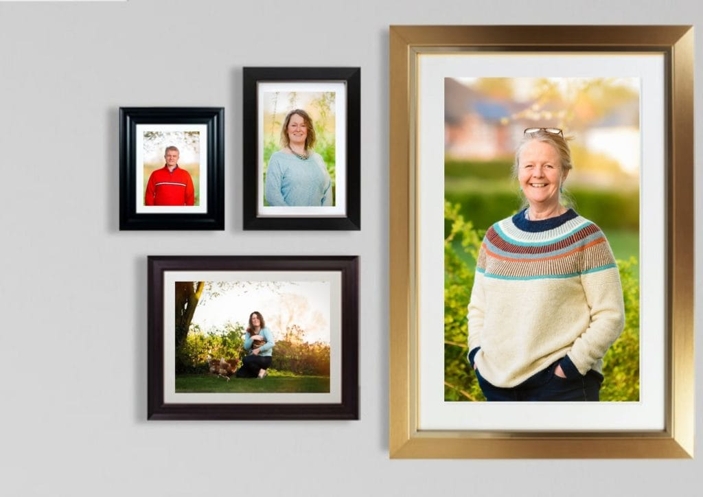 Headshot and branding images in frame